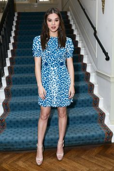 Pin for Later: NYFW's Front Row Is Looking Extremely Fierce Hailee Steinfeld Rawr! Hailee showed up to W's It girls luncheon in a blue animal-print frock and platform pumps.