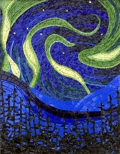 The aurora borealis or northern lights are a fascinating sight to behold.  Twisting shapes of colour which are ever changing.  They are very hard to capture in any medium, but glass posed its particular challenges. Stained and dichroic glass.