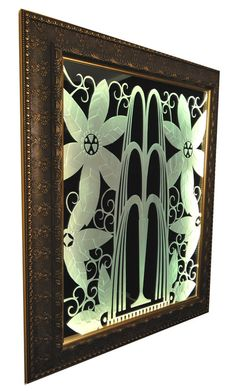 Edgar Brandt Inspired, New Art Deco Mirror; Heirloom Quality; Carved, Illuminated Art Glass Mirror in Premium Frame; Ready to Ship