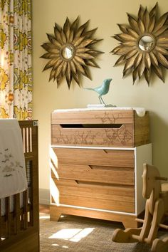 Most sophisticated nursery ever, with contemporary changing table.