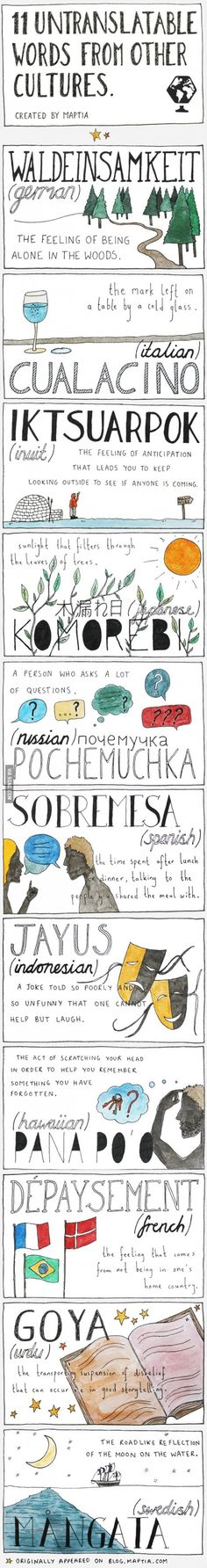 Untranslatable Words, shows a lot about different cultures @Jenna Branson . Pretty interesting