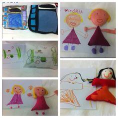 Bonecos em feltro, feitos à partir dos desenhos das crianças.