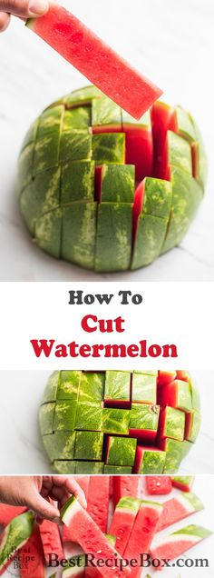 How To Cut Watermelon into Sticks for Easy Eating How to cut watermelon? Easy way to slilce watermelon into sticks in two ways. How to slice and serve watermelon for easy eating. Best way to cut watermelon Eating Watermelon, Watermelon Recipes, Watermelon Sticks, Cutting A Watermelon, Watermelon Bowl, Cut Watermelon Easy, Watermelon Healthy, Creative Kitchen, Kitchen Tips