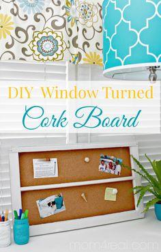 DIY Old Window Turned Cork Board with Sea Shell Thumbtacks