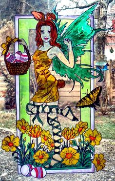 WICOART WINDOW COLOR STICKER CLING FAUX STAINED GLASS PÂQUES FÉE LAPINE FAIRY