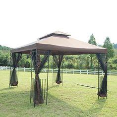 'Outdoor Patio Canopy Party Gazebo Shelter Hardtop with Mesh and Curtains Pergola Diy, Patio Gazebo, Garden Gazebo, Deck With Pergola, Covered Pergola, Backyard Landscaping, Pergola Ideas, Pergola Shade, Corner Pergola