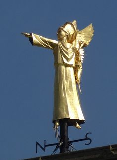Guildford Cathedral, England (modern) 15 ft. tall gilt angel weathervane by rabinal, via Flickr