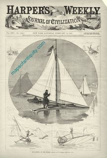 Ice-Yachting-on-the-Hudson Antique Print Seasonal Decorating Maps of ANtiquity