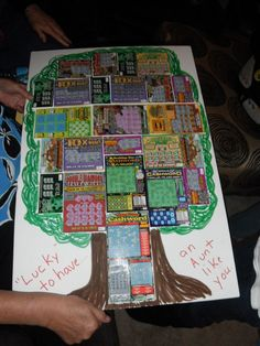 lottery ticket tree - great gift idea! Instead of a tree, D A D for Father's Day Gift.