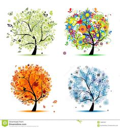 Four seasons - spring, summer, autumn, winter. Art tree beautiful for your design Clip Art