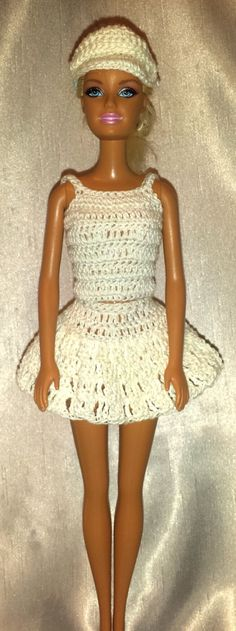 Crochet Barbie Tennis Outfit, Fashion Doll Crocheted Clothing, Handmade Barbie Clothes,  Sporty Barbie Dress by GrandmasGalleria on Etsy