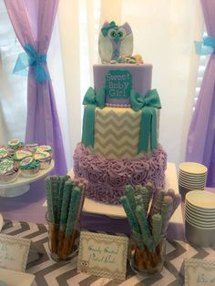Ruffle chevron cake at an owl baby shower party! See more party planning ideas at CatchMyParty.com!