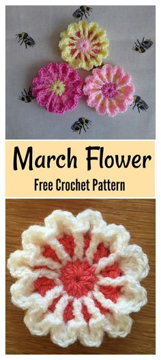 Crochet Puff Flower March Flower Free Crochet Pattern - The March Flower Free Crochet Pattern is quick to make. It is a great project to help with your color changing skills as it uses three different colors. Crochet Puff Flower, Bag Crochet, Crochet Flower Tutorial, Crochet Motifs, Crochet Gifts, Crochet Flowers, Pattern Flower, Crochet Stars, Crochet Appliques