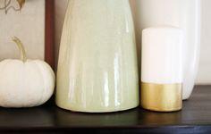 Our Home, Fall 2014 | DIY Gold Striped Candle | PepperDesignBlog.com