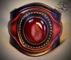 Unique Leather Bracelet with 100% Natural Agate by VanZakkLeather
