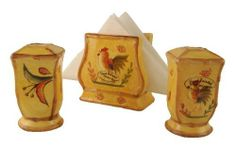 NAPKIN HOLDER, SALT & PEPPER SHAKERS BAMBOO ROOSTER by ACK. $25.95. 100% Pure Ceramic. High Finish Gloss/Shines all over each item. Vineyard/Tuscany Style. Details:. Hand Painted. Bamboo Rooster borders features hand-painted borders to bring the antique Oak wood style that brings a combination of Fresh and Classy to your home. Light up your kitchen with this fantastic collection. We carry the entire collection from  * Each item is hand-painted * Full color & d...