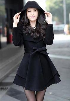 Thick and warm woolen Coat Dress - black