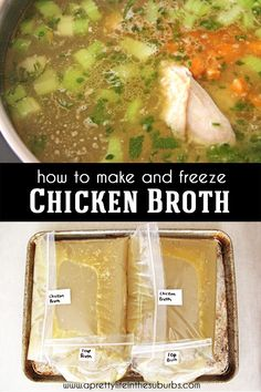 Making your own homemade chicken stock is easy and delicious! Here are some tips for making and freezing your own stock for soups and other recipes. How To Cook Rice, Food To Make, Freezing Chicken, Soup Recipes, Dinner Recipes, Chicken Rice Soup, Frozen Turkey, Homemade Chicken Stock, Healty Dinner