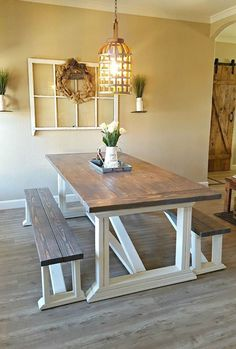 DIY Farmhouse table in a rustic dining room makeover. Build this beautiful rustic table from Ana White's free plans! Farmhouse Kitchen Decor, Dining Room Makeover, Dining Table, Farmhouse Dining Room Table, Diy Farmhouse Table, Farmhouse Table Plans, Dining Room Decor, Farmhouse Dining Rooms Decor, Rustic Dining Room