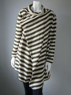 Lagenlook open-front striped cardigan