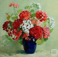 Geraniums in Blue Vase 2014 Flower Vases, Flower Art, Still Life Flowers, Red Geraniums, Tea Art, Arte Floral, Types Of Flowers, Pavlova, Stone Painting