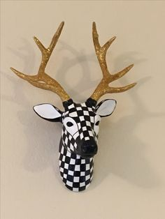 $160 Whimsical Mackenzie Childs inspired deer head