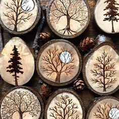 Pyrography wood burning trees on tree wood slices Wood Slice Crafts, Wood Burning Crafts, Wood Burning Patterns, Wood Burning Art, Wood Burning Projects, Wood Burning Stencils, Stencil Wood, Natural Wood Crafts, Rustic Wood Crafts