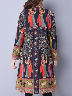 Trendy Gracila Ethnic Women Long Sleeve Printed Plate Buckle Stand Collar Coats Online - NewChic Mobile.