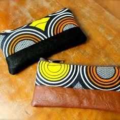 Idee cadeau : porte-monnaie petite pochette trousse à maquillage tissu ethnique wax et simili-cuir