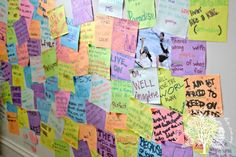 Teen Quotes in Bedroom Wall ~ sticky note wall filled with quotes and thoughts from you and your friends....easily changed or removed...