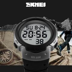 Skmei Luxury Brand Mens Sports Watches Dive Digital LED Military Watch Men Fashion Casual Electronics Wristwatches Hot Clock Just look, that`s outstanding! Rugged Style, Mens Sport Watches, Watches For Men, Digital Sports Watch, Digital Watch, Trendy Fashion, Mens Fashion, Urban Fashion, Big Face