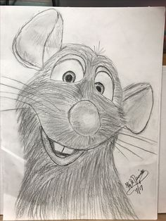 Stand aside Folks..... Mickey Rat has entered the room!!! LOL...!!! Yet another one of my favorite characters to draw.  Disney's Ratatouille full of personality and character.  Here is a closeup style drawing of him not being to shy for the camera so to speak!  I love sketching with a graphite pencil.