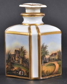A 19TH CENTURY PARIS PORCELAIN SCENT BOTTLE AND ST