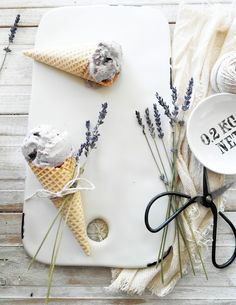No Churn Blueberry Lavender Ice Cream