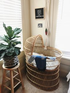 Home Decor. wicker bassinet + Cute bohemian corner✌️ Toronto Heating And Air Conditioning Ask a Baby Bedroom, Baby Room Decor, Nursery Room, Girl Nursery, Nursery Decor, Nursery Ideas, Baby Bassinet, Nursery Neutral, Nursery Gray