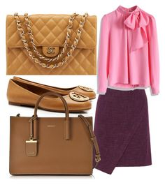 """""""Wednesday work outfit"""" by anupinky23 on Polyvore featuring Chanel, Tory Burch, Manon Baptiste, DKNY, Chicwish, women's clothing, women, female, woman and misses"""