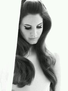 Adore Lana Del Rey big rollers waves, false eyelashes, and BOLD cat wing