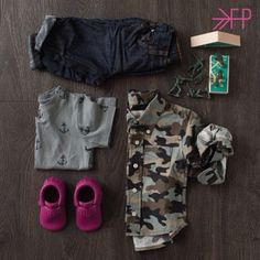 "Love this camo look for toddlers. Featuring ""Raspberry"" Freshly Picked Moccs #KidsFashion"