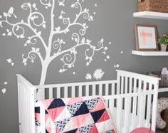 White Tree Wall Decal with Cute Owl and Butterflies by Jesabi