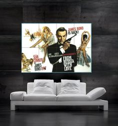 JAMES BOND AGENT 007 Sean Connery  Spy poster print art wall poster huge photo new film movie Secret Agent From Russia With Love. $18.45, via Etsy.
