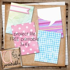 Here is a little set of 4 project life cards for your projects. They have very pretty, soft colours, so perfect for little girl pages perh...