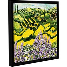 ArtWall Allan Friedlander Down the Hill Gallery-Wrapped Floater-Framed Canvas, Size: 18 x 18, Purple