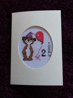 Lovely Handmade Cross Stitch Girl Meerkat Birthday Card - *Choice of Age* by Zoescrossstitchcraft on Etsy
