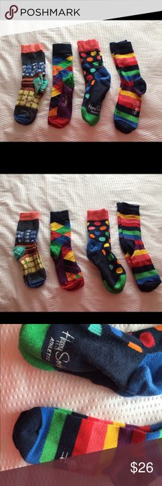 Happy socks Four pairs of happy socks. All sized 36-40/9-11. See sizing chart in photos. Standard women's size. All worn 1-4 times! Like new! Happy Socks Accessories Hosiery & Socks