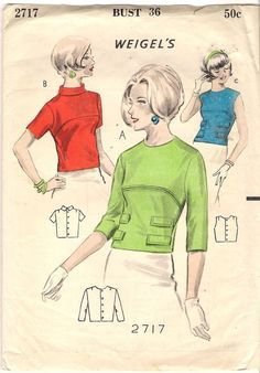 Weigels Sewing Pattern 2717 Rare Vintage Overblouse with Variations Vintage Dresses 1960s, Vintage Dress Patterns, Blouse Vintage, Vintage Skirt, Vintage Barbie, Vintage Outfits, Retro Fashion, Vintage Fashion, Vintage Style