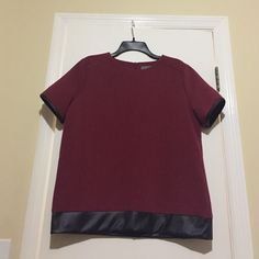Faux leather trim blouse maroon Wells Grace maroon cap sleeve shirt. Faux leather at bottom and around sleeve. Purchased at Piperlime Wells Grace Tops