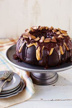 This incredible addition to our family of Bundt cakes will have family and friends anxious for that first bite. Centered by a peanut butter-cream cheese filling, this super moist chocolate cake is then dressed with two flavorful glazes.