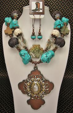 TURQUOISE WESTERN COWGIRL Necklace Set by CayaCowgirlCreations, $62.50