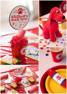 CLIFFORD THE BIG RED DOG BIRTHDAY PARTY! 4th Birthday Parties, Birthday Party Decorations, Birthday Ideas, Birthday Book, Birthday Stuff, Baby Boy Birthday, Childrens Party, Animal Party, First Birthdays