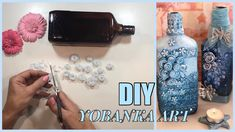 COMO RECICLAR BOTELLAS... FACIL Y MUY ELEGANTES Wine Bottle Art, Bottle Vase, Bottles And Jars, Mason Jars, Diy Glasses, Shabby Chic Art, Diy And Crafts, Paper Crafts, Altered Bottles